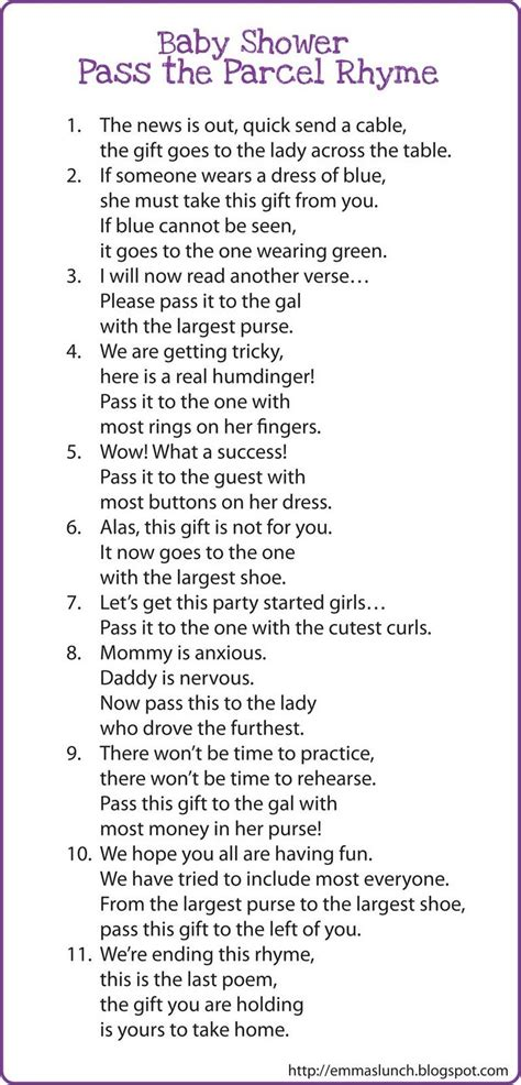 Baby Shower Pass The Gift Poem pass the prize baby shower free s lunch quot time