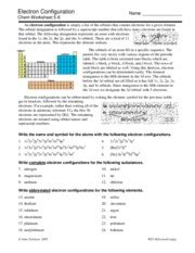 Orbital Diagram Chem Worksheet 5 5 Answer Key