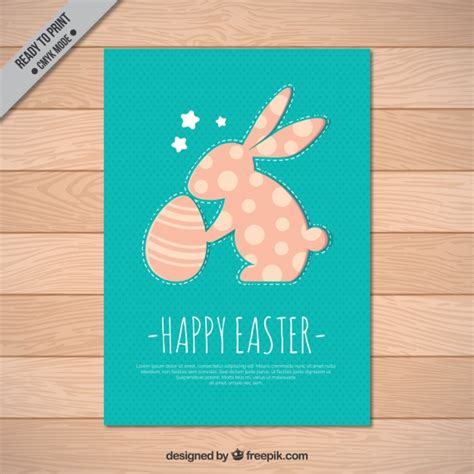 vintage card with bunny and easter egg vector free