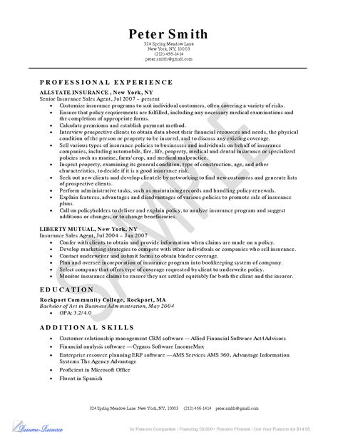 Description For Insurance by Insurance Resume Recentresumes