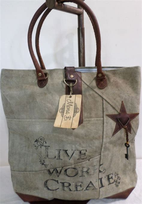 Live Work Linen Shopper Bag mona b live work create canvas bag tote recycled carry