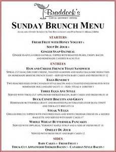 menu for brunch sunday brunch braddocks