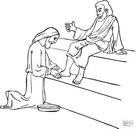 Jesus Washing Feet Coloring Online Jesus Washes The Disciples Coloring Page