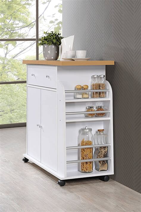 hodedah import kitchen island with spice rack and towel