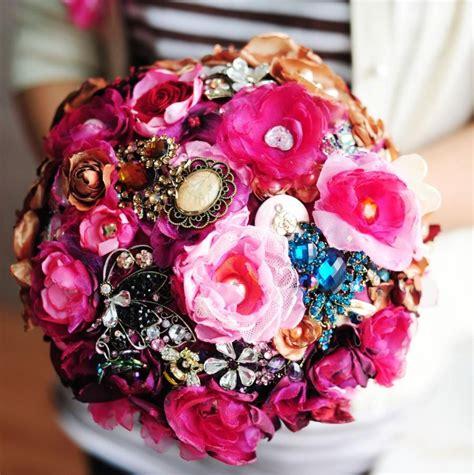 Handmade Flower Bouquet - handmade silk flower bouquet pink color wedding