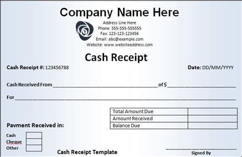 cash receipt template curitiba in english