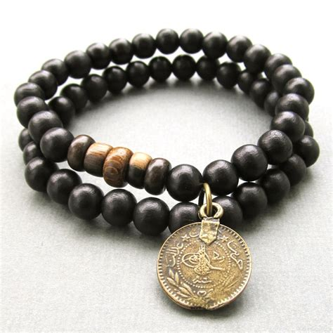 wooden beaded jewellery mens black wooden beaded stretch bracelets with by