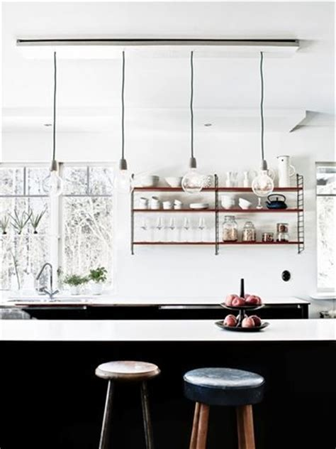 Kitchen String Lights Black And White And Copper Kitchen Interior Design Kitchens String Shelf