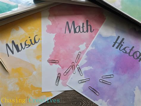 diy printable binder covers personalized watercolor binder covers notebook covers