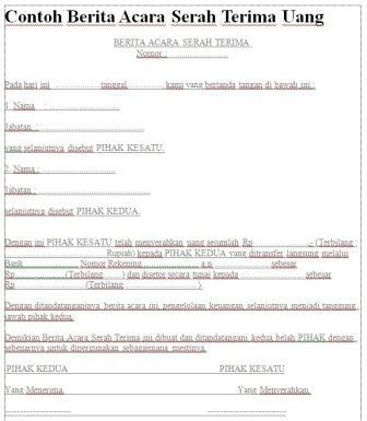 Contoh Kwitansi Tanda Terima by Contoh Berita Acara Serah Terima Uang Assalam Print