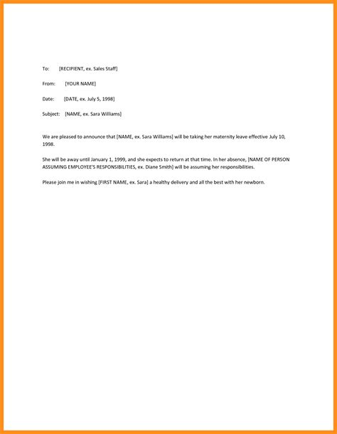 Employment Letter While On Maternity Leave sle letter notifying employer of maternity leave