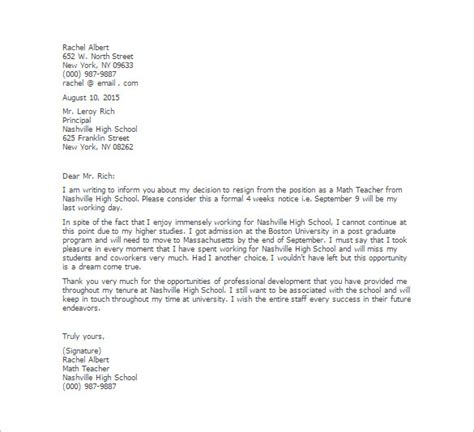 School Board Resignation Letter by 11 Resignation Letter Templates Free Sle Exle Format Free