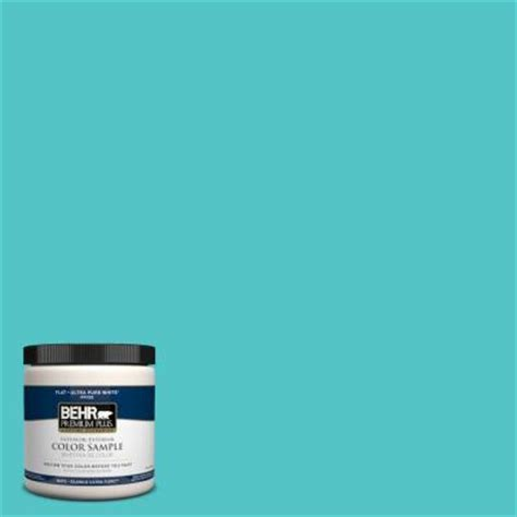 behr premium plus 8 oz 500b 4 gem turquoise interior exterior paint sle 500b 4pp the home