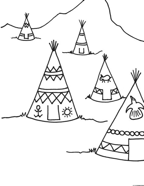 Teepee Coloring Page Teepee Coloring Pages
