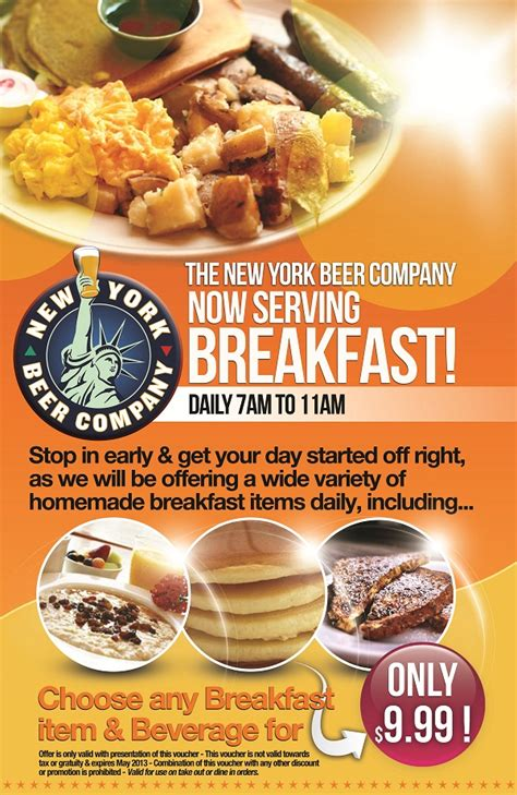 The New York Beer Company Now Serving Breakfast Murphguide Nyc Bar Guide Breakfast Flyer Template