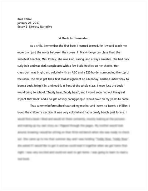 Essay About Literacy literacy narrative essay 1 draft kala carroll january 28 2011 essay