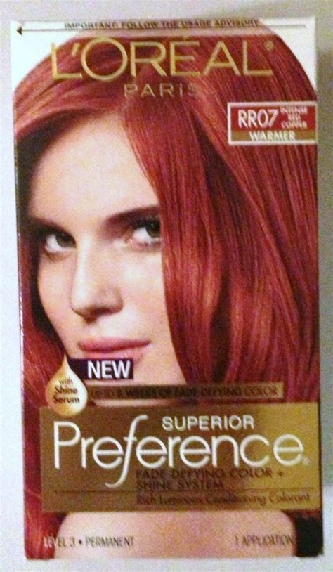loreal hair color chart ginger loreal paris superior preference hair dye color rr07