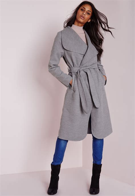 light grey long coat missguided long belted waterfall coat light grey in gray