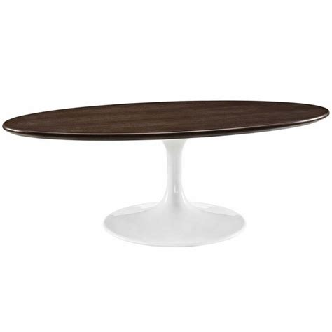 Lippa 48 Quot Oval Shaped Walnut Coffee Table Modern In Designs Oval Shaped Coffee Table
