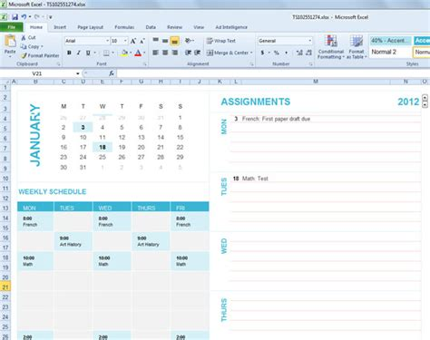 Free Student Planning Template For Excel 2007 2010 Plan Exle For Students