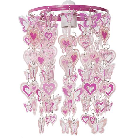 bedroom nursery pink hearts butterfly ceiling light