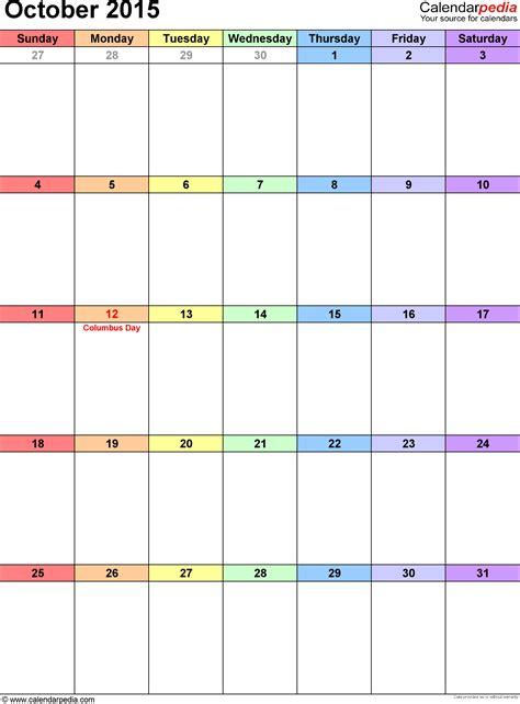 printable calendar october 2015 word october 2015 calendars for word excel pdf