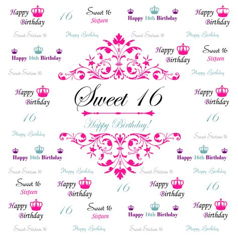 Backdrop Design Sweet 17 | sweet 16 backdrop event step and repeat backdrop birthday