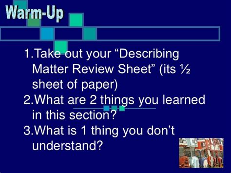 chapter 1 review matter and change section 2 describing matter chapter 1 section 2