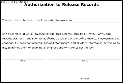 release of records template authorization to release records template sle