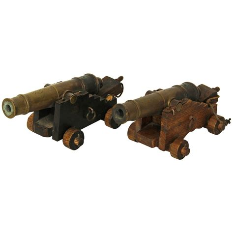 miniature cannons pair of miniature bronze signal cannons at 1stdibs
