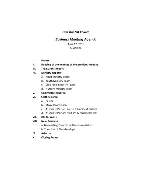 business meeting agenda template meeting agenda format