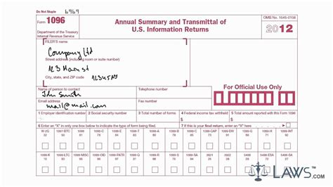 sle 1096 form filled out learn how to fill the form 1096 annual summary and
