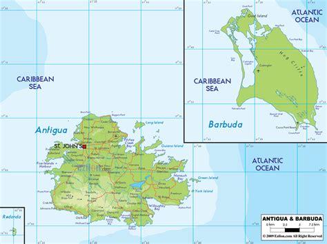 antigua and barbuda map physical map of antigua and barbuda ezilon maps