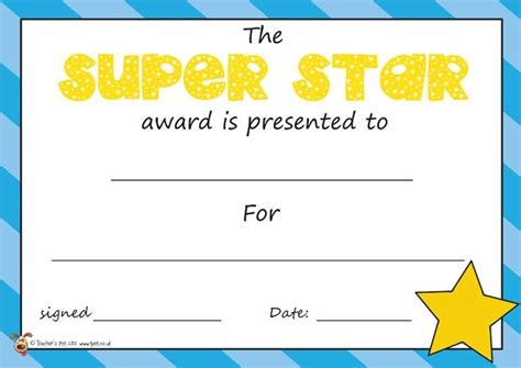 printable star awards star award certificate templates best template design
