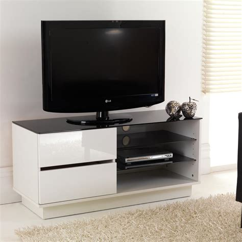 white gloss two drawer glass shelf lcd plasma tv stand