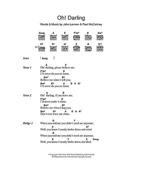 oh darling sheet music direct oh darling sheet music by the beatles lyrics chords