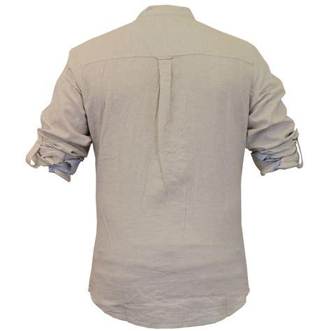 Tab Sleeved Linen Top mens linen cotton shirt threadbare grandad collar