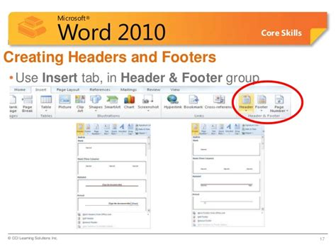 creating header and footer in word 2010 word lesson 5c columns header footers page no