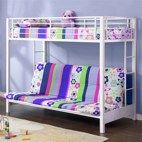 futon bunk bed walmart twin over futon premium metal bunk bed white walmart com
