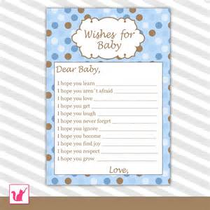 well wishes for baby card baby boy shower printable activity with blue and brown polka dots