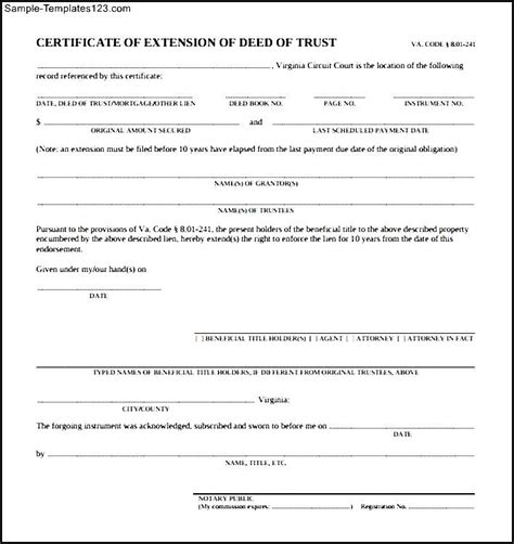 trust deed template free deed of trust form sle templates