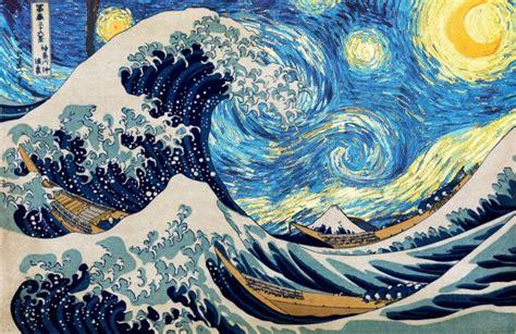 vincent van gogh hokusai starry night  great wave