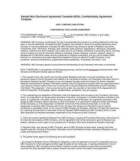 Non Disclosure Agreement Letter Sle Nda Sle Template 28 Images Non Disclosure Agreement Template Free Sle Nda Template 40 Non