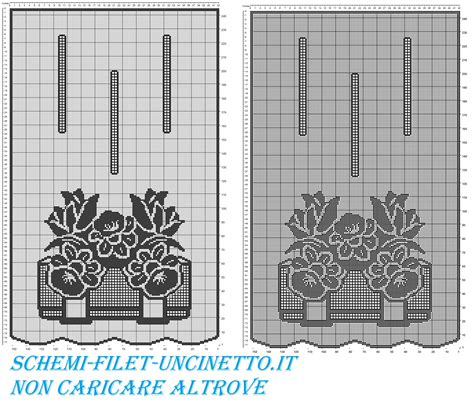 uncinetto filet tende tenda con vaso di narcisi e tulipani schema filet