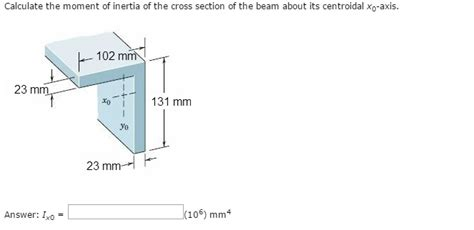 cross section moment of inertia calculate the moment of inertia of the cross secti