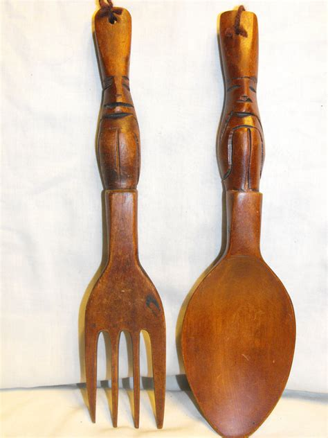 Wooden Fork And Spoon Wall Decor vintage 12 wooden fork spoon wall decor by amysacresantiques