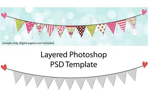 Pennant Flag Garland Photoshop Template Bunting Pendant Birthday Banner Template Photoshop
