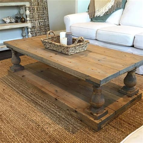 Plank Coffee Table Rustic Baluster Wide Plank Coffee Table