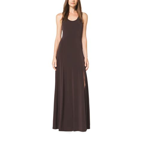 Dress Brown lyst michael kors ring back matte jersey maxi dress in brown