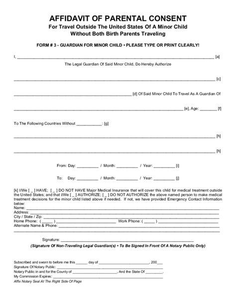 parental consent template parental consent form for child travel free